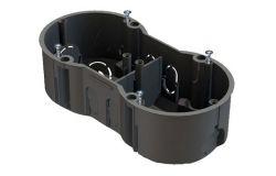 Nozarkārba IEK, betonam, 2-viet., IP20, melns, 141x70x45mm