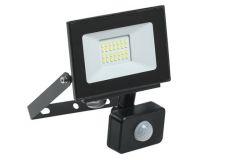 Prožektors LED, IEK, 20W, 1600lm, 6500K, IP54, melns, L132mm, W21mm, H153mm, ar sensoru