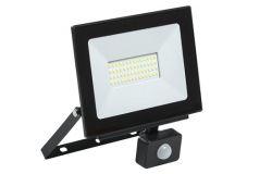 Prožektors LED, IEK, 50W, ar sensoru, 4000lm, 6500K, IP54, melns, L204mm, W22mm, H205mm