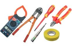 Multimiters, tools, soldeing irons, duct tapes